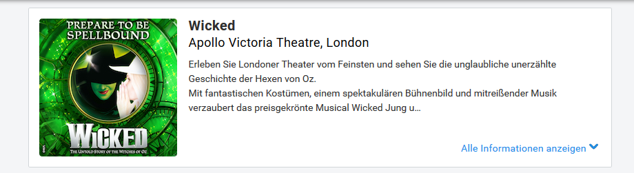 Screenshot Musical The Wicked in London im Apollo Victoria Theatre - Flug, Hotel, Ticket ab 172,78€