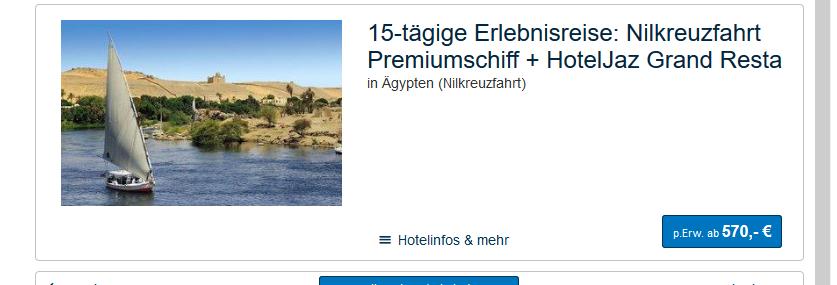 Screnshot Deal Nilkreuzfahrt und Badeurlaub Vollpension 15 Tage ab 570,00€