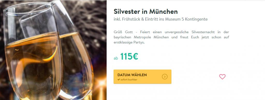 Screenshot Silvester in München feiern ab 115,00€