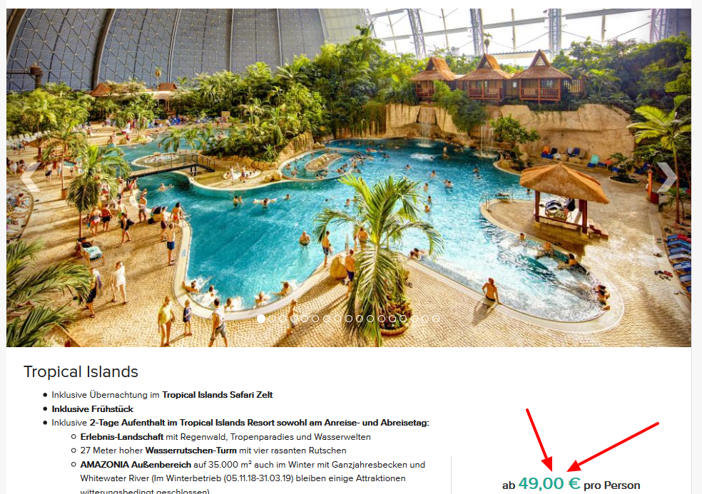 Tropical Islands angebote 4**** Hotels in Holiday Inn pro Person 69,00€ 1