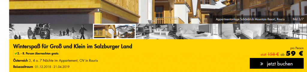 Screenshot Deal Skifahren im Salzburger Land