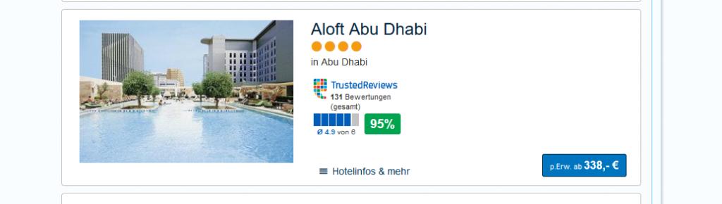 Screenshot Hotel Abu Dhabi Urlaub günstig in die V.A Emirate