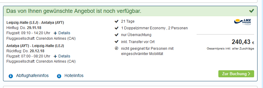 Screenshot Deal Alanya Reise 21 Tage ab 121,00€ Flug + Hotel