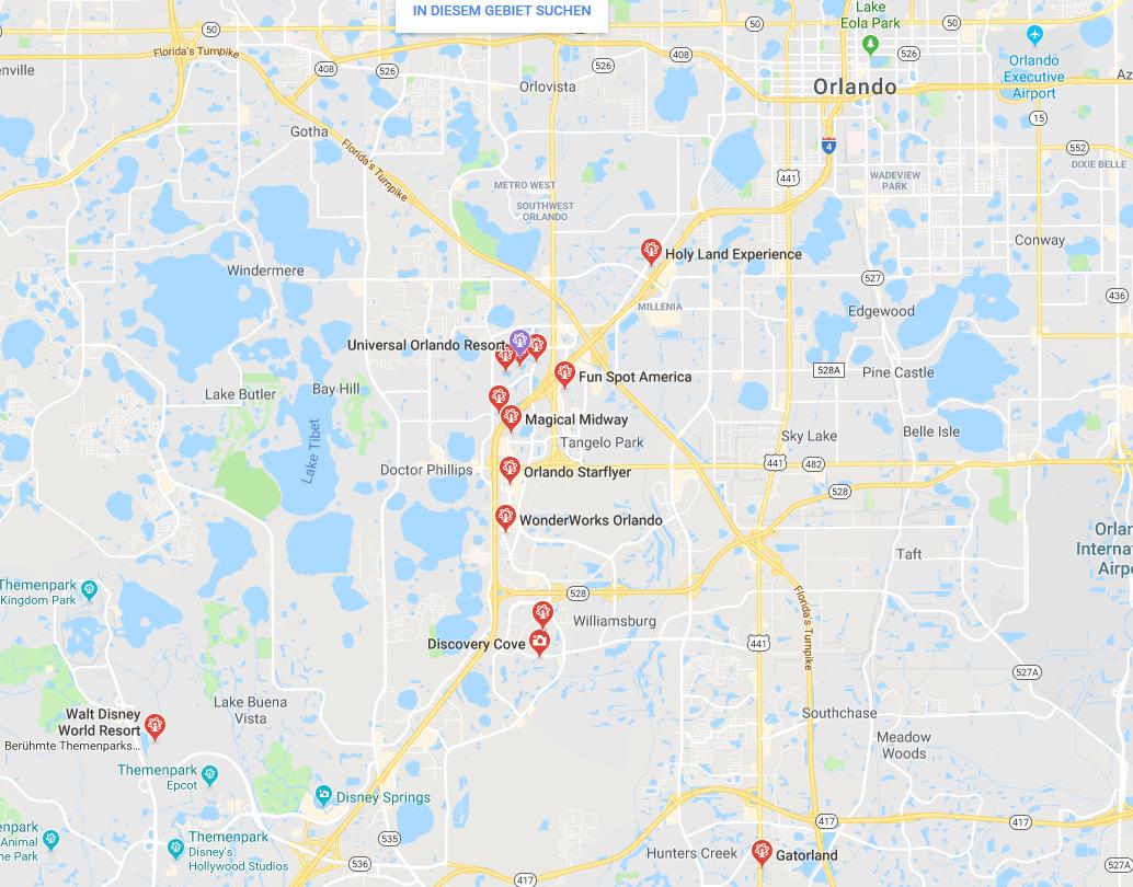 Screenshot orlando freizeitpark Google Maps