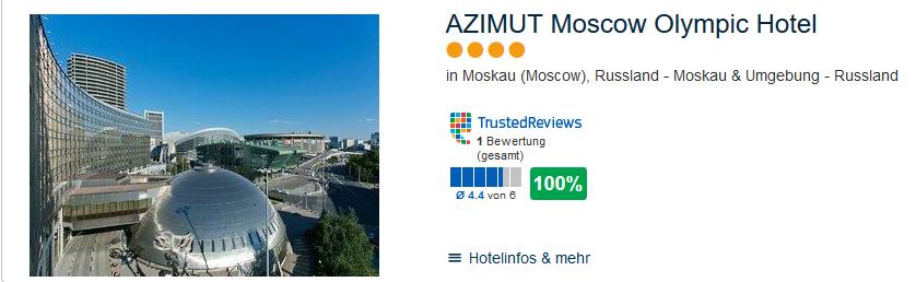 Ab Februar 2019 wird bei einem Städtetrip nach Moskau das Hotel gebucht