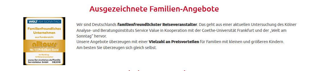 Kinderfestpreis beim Urlaub ab 0,00€ -Alltours Familienfreundlichster Reiseveranstalter