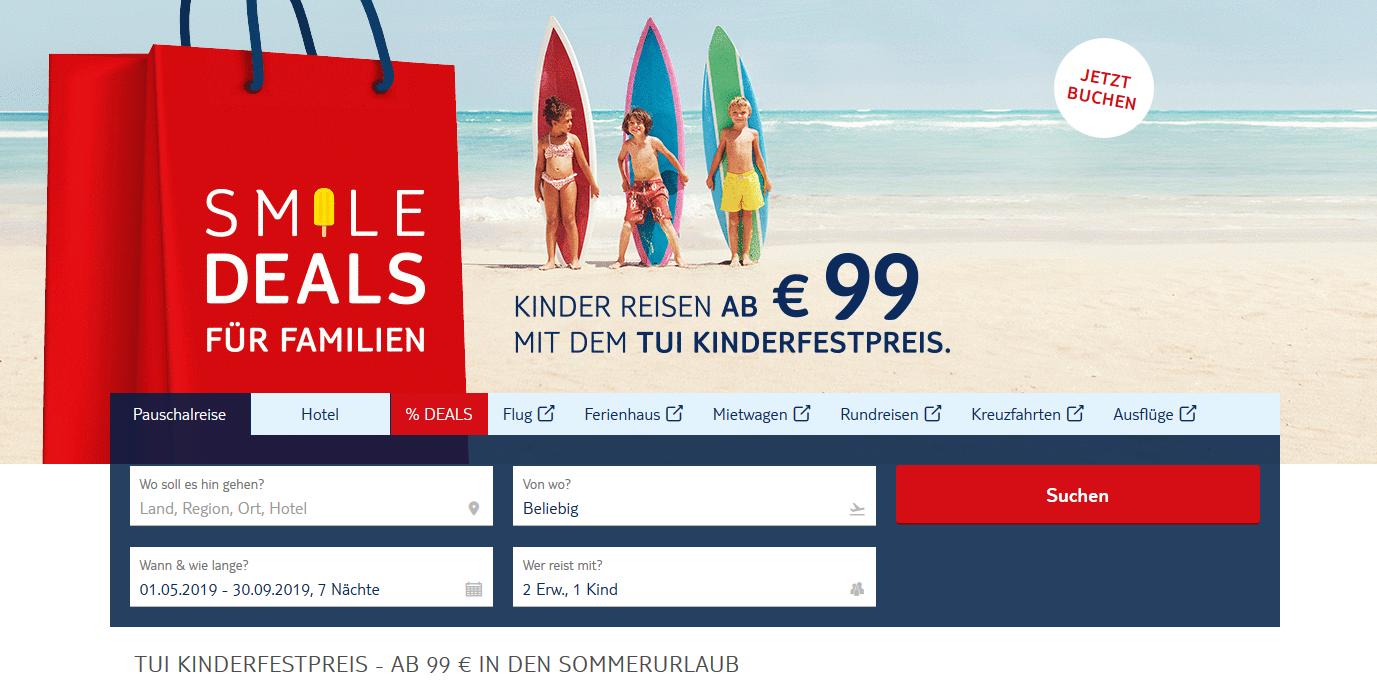 Screenshot Deal - Kinderfestpreis beim Urlaub ab 0,00€ - Günstiger Buchen mit TUI ab 99,00€