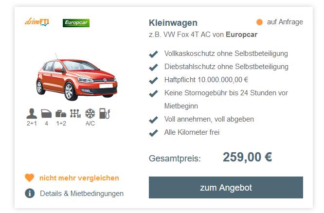 Screenshot Deal Mietwagen buchen auf Curcao