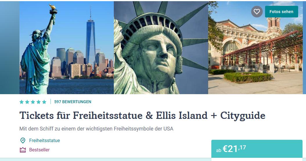 Screenshot Deal New York City Tickets für Freiheitsstatue