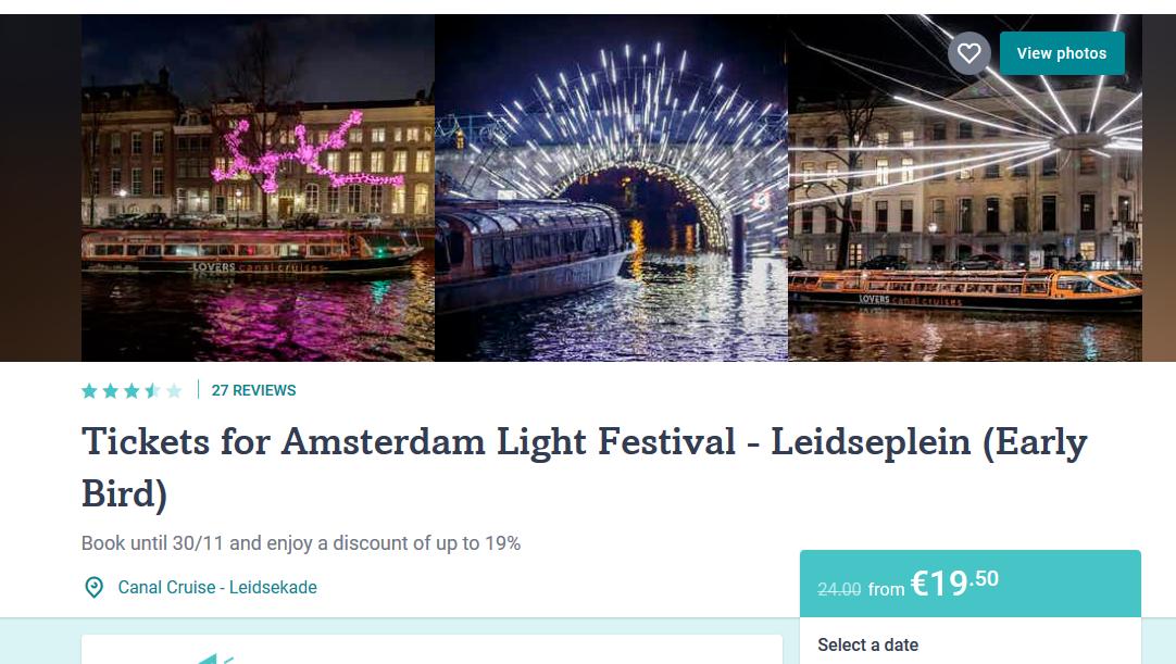 Screenshot Amsterdam Lichtfestival günstige Bootstour durch die Grachten ab 19,90€