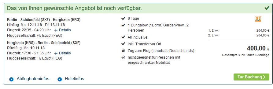 Screenshot Deal Ägypten Angebote Hurghada Urlaub ab 204,00€ - eine Woche All Inclusive