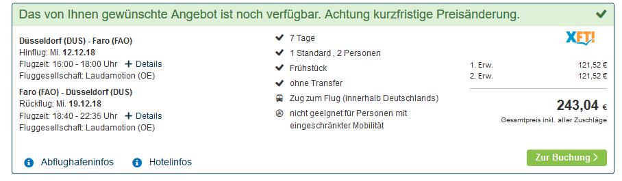 Screenshot Deal Algarve Urlaub eine Woche günstig buchen ab 121,52€