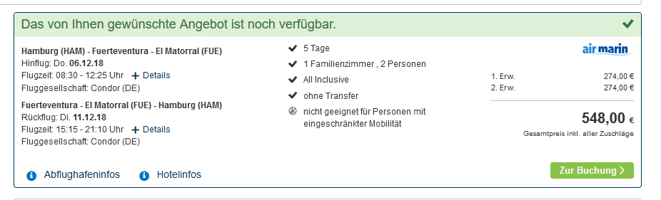 Screenshot Deal All Inclusive Urlaub Fuerteventura günstiger buchen ab 274,00€