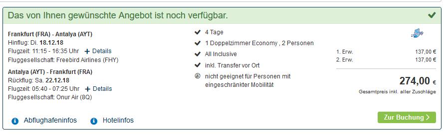 Screenshot Deal All Inclusive Urlaub Side Türkei im 5 Sterne Hotel günstig ab 137,00€