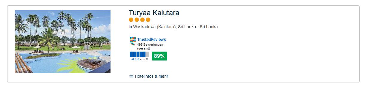 Screenshot Deal All Inclusive auf Sri Lanka - 3 Wochen ab 1259,00€ + 2 Tage Xtra im 4 Hotel