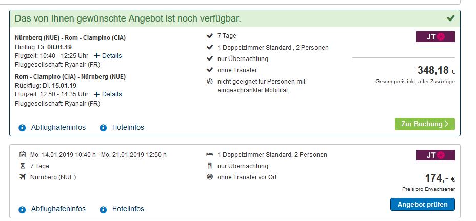 Screenshot Deal Beispiel Eine Woche Rom günstig ab 176,00€ - Flug & Hotel