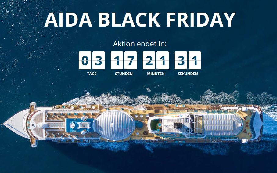 Screenshot Deal Black Friday bei AIDA - Kreuzfahrten gibt's nur günstiger als Pirat ab 599,00€