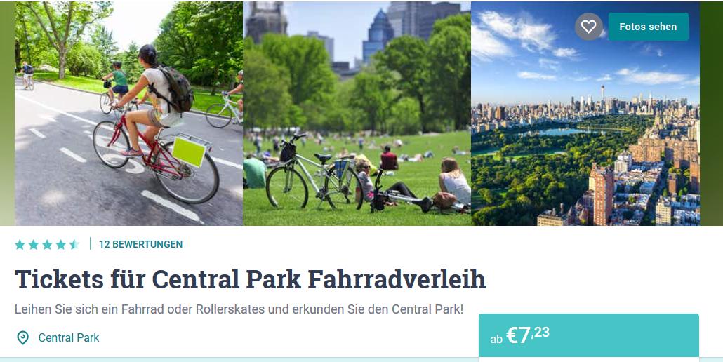 Screenshot Deal Central Park New York Fahrradverleih ab 7,23€ die City erleben