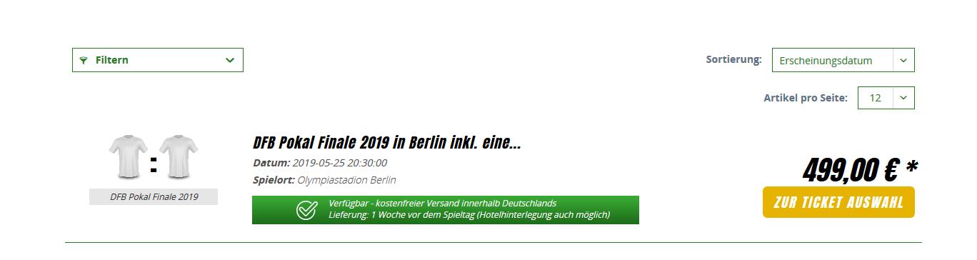 Screenshot Deal DFB Pokalfinale 2019 Tickets günstig kaufen ab 499,00€ + Hotelübernachtung