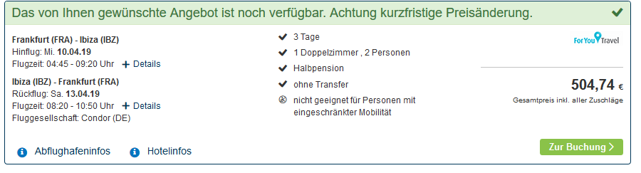 Screenshot Deal Formontera Es Pujols Urlaub auf den Balearen ab 250,00€ Halbpension