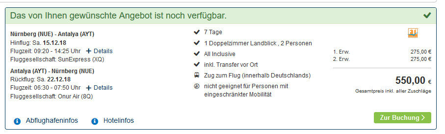 Screenshot Deal Freizeit Park in der Türki + Badeurlaub All Inclusive