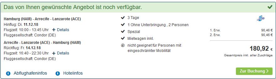 Screenshot Deal Günstigen Flug und Mietwagen auf Lanzerote - Rundreisen ab 90,46 p.P