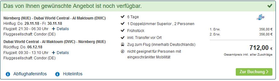 Screenshot Deal Günstigster Dubai Urlaub ab 356,00€ die Woche - Vereinigte Arabische Emirate