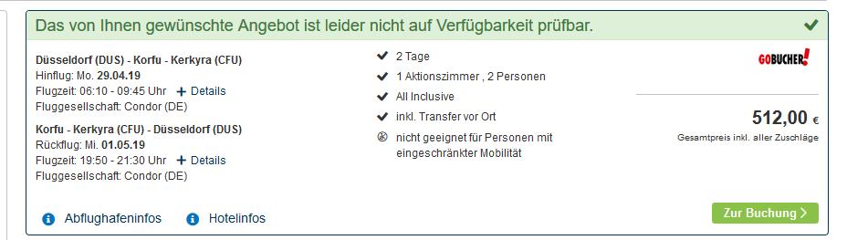 Screenshot Deal Griechenland Korfu All Inclusive Urlaub im 4 Sterne Hotel ab 256,00€