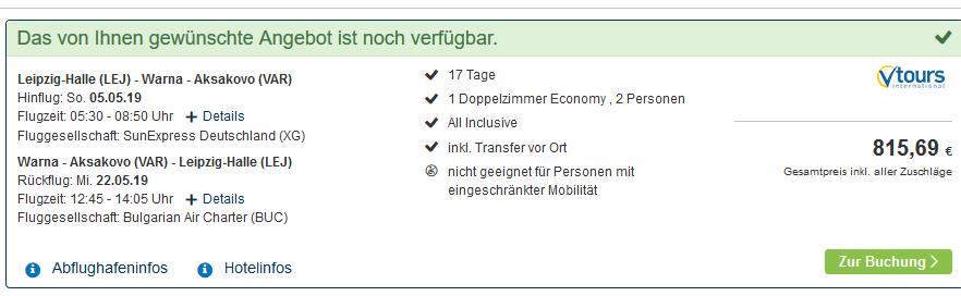Screenshot Deal Hangover am Goldstrand 17 Tage All Inclusive Partyurlaub ab 407,35€
