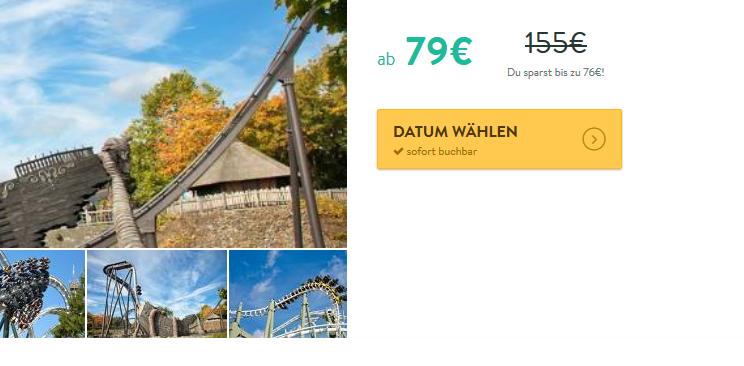 Screenshot Deal Heide Park Soltau günstiger Heidepark Eintritt ab 79,00€ + Übernachtung