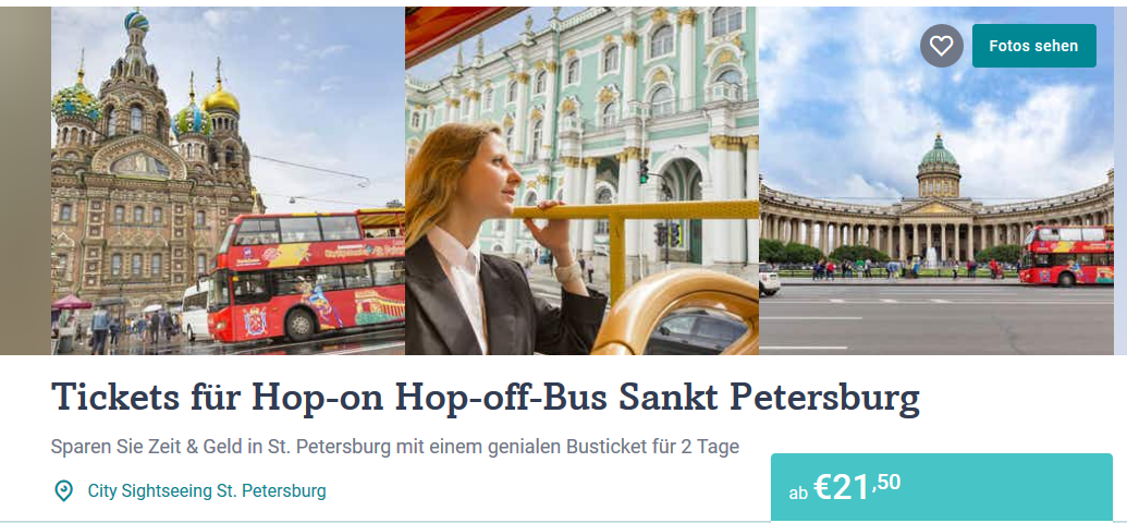 Screenshot Deal Hop On Hop off Bus Sankt Petersburg ab 21,50€