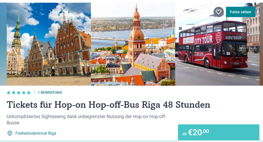 Screenshot Deal Hop-on-hop-off Riga ab 20,00€