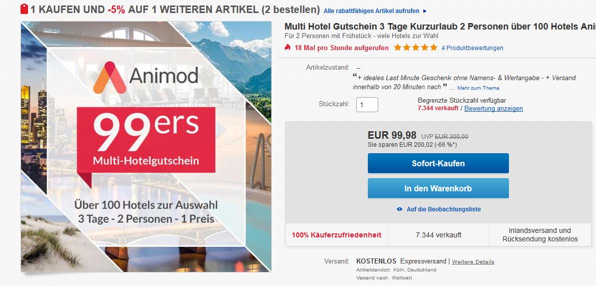 Screenshot Deal Hotelgutschein für 99,98€ 3 Tage 2 Personen inklusive Frühstück