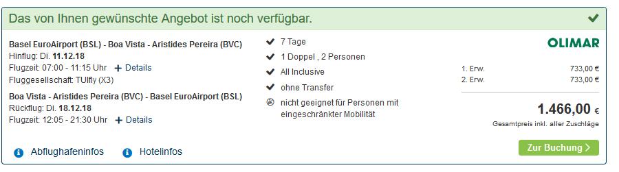 Screenshot Deal Kap Verde Urlaub buchen jetzt 26% günstiger 1 Woche All Inclusive ab 733,00€