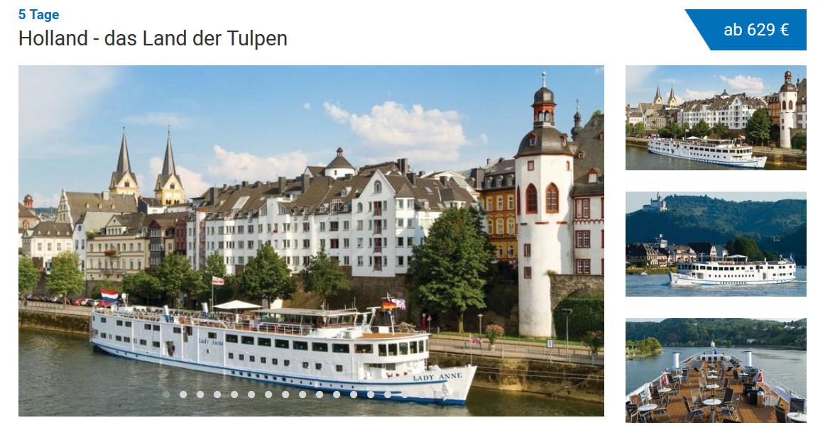 Screenshot Deal Kreuzfahrt Vollpension Buchen - 5 Tage durch Holland ab 629,00€ - Flusskreuzfahrt