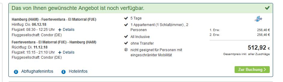 Screenshot Deal Kurzurlaub Fuerteventura günstig buchen ab 254,46€ - 5 Nächte All Inclusive
