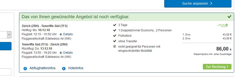Screenshot Deal Kurzurlaub auf Teneriffa 3 Nächte günstig ab 43,00€ Flug + Hotel