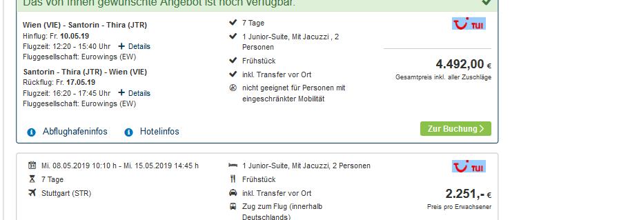 Screenshot Deal Luxusurlaub auf Santorin im Cavo Tagoo Santorini eine Woche ab 2251,00€