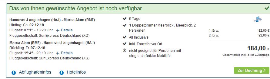 Screenshot Deal Marsa Alam Nada Resort All Inclusive Pauschalreise günstig ab 92,00€