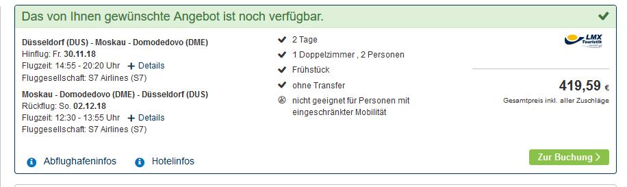 Screenshot Deal städtereise moskau mit flug günstig buchen ab 209,00€ Flug & Hotel 2 Nächte