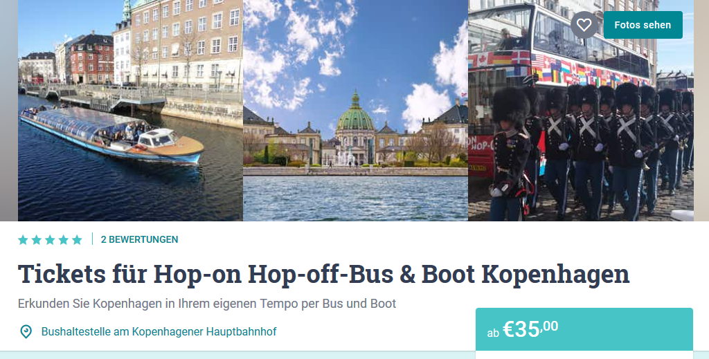 Screenshot Deal - Piraten Tour durch Kopenhagen- Hop on Hop of Boot & Busticket ab 35,00€ 48 Stunden gültig
