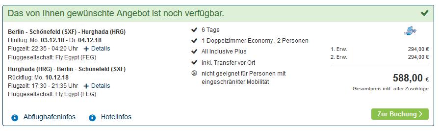 Screenshot Deal Sahl Hasheesh All Inclusive eine Woche günstiger buchen ab 294,00€ im 5 Sterne Hotel
