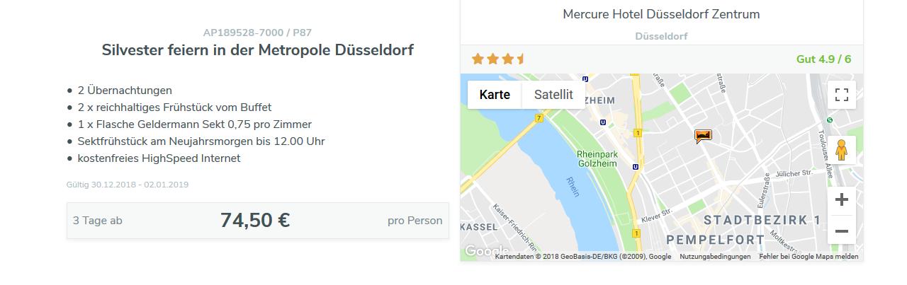 Screenshot Deal Silvester feiern in Düsseldorf 2 Nächte ab 74,50€ p.P