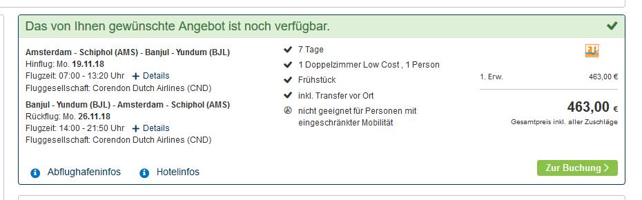 Screenshot Deal Single Urlaub nach Gambia eine Woche günstig ab 463,00€