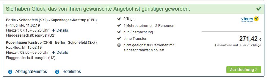 Screenshot Deal Städte Trip nach Kopenhagen zentrale Lage 2 Nächte + Flug ab 135,71€