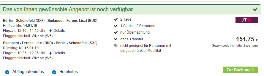 Screenshot vom besten Deal Städtereise nach Budapest Flug & Hotel günstig 2 Nächte schon ab 82,00€