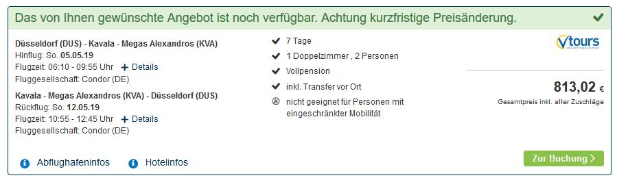 Screenshot Deal Thassos Urlaub in Griechenland eine Woche günstig ab 406,51€