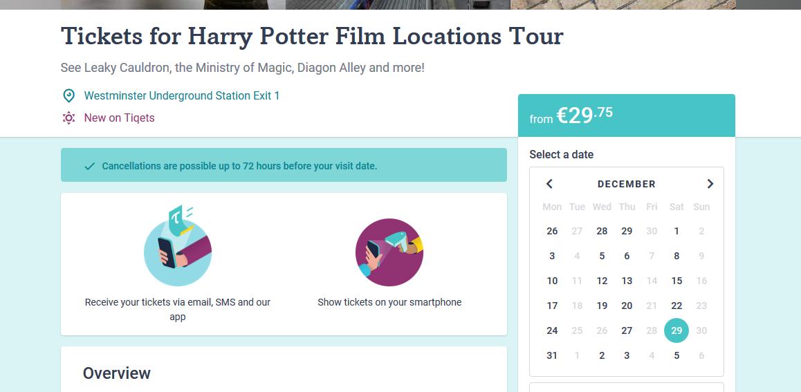 Screenshot Deal Reise The Making of Harry Potter Tour günstig ab 135,70€ Flug + Hotel + Ticket