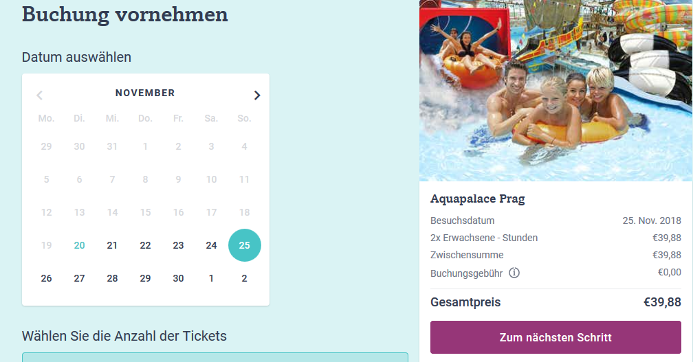 Screenshot Deal Tickets für Aquapalace in Prag