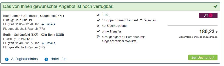Screenshot Deal Von Köln nach Berlin Flug & Hotel ab 90,00€ - eine Woche Berlin ab 202,00€
